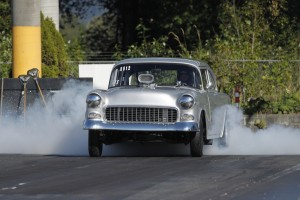 GASSER GET DOWN 55 CHEVY ROASTS TIRES